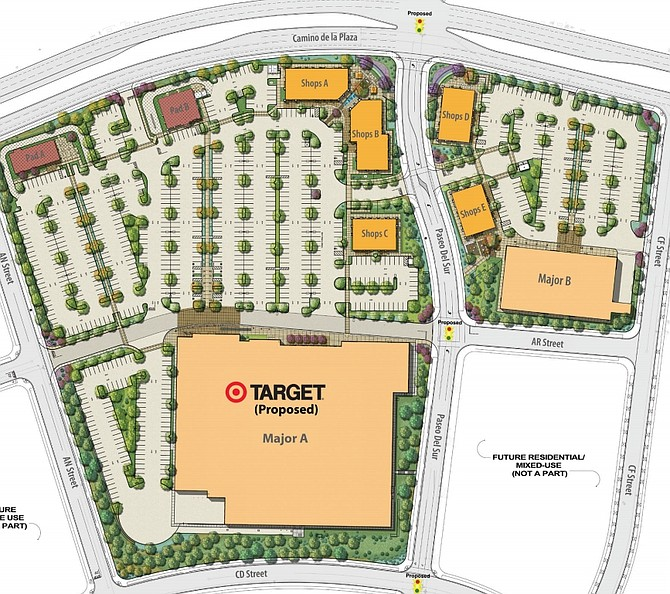 Shea Properties is developing a new retail center in San Diego's Del Sur Neighborhood, slated to be anchored by Target. Map courtesy of Flocke & Avoyer Commercial Real Estate, CoStar Group