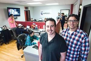 Battling Bots: Barons Media's Daniel Kornblit, left, and Jim Larkin at the online ad network's headquarters in Burbank.