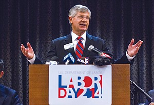 Labor Leverage: Gary Toebben of the L.A. Chamber speaks at a Labor Day event.