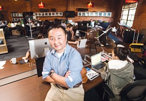 Hitting Links: Mobile Majority's Cheolho Minale at the mobile advertising network's headquarters in Santa Monica.