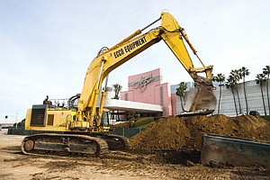 Development on Track: Work is under way on tearing down the old Hollywood Park property in Inglewood.