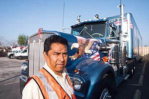 Driving Issue: Alfredo Gonzalez at the Teamsters' office in Long Beach.