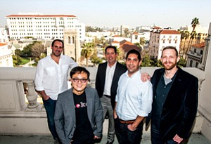 Raising Profile: SellBrite's Brian Nolan, left, Spokeo's Harrison Tang, Pasadena's Eric Duyshart, Idealab's Alex Maleki and CodeSpark's Grant Hosford at Pasadena City Hall.