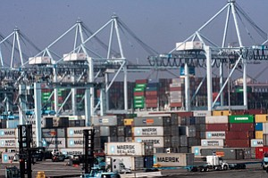 Boxed In: Cranes and cargo containers at Port of Los Angeles.