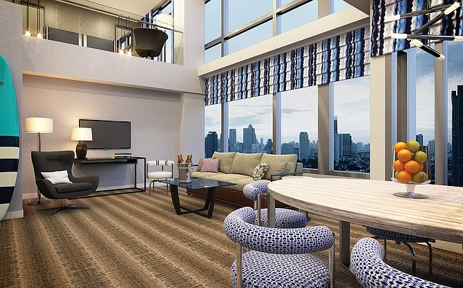 A two-level penthouse planned for Hotel Palomar San Diego -- Rendering courtesy of Kimpton Hotels & Restaurants