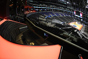 Playing It Up: San Manuel Club seats overlooking the court at Staples Center.