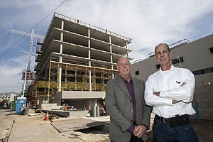 House & Robertson's Jim House, left, and Doug Robertson at Columbia Square project in Hollywood.