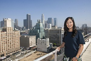 New Perspective: Jamison Realty's Jaime Lee on the roof of the California Market Center in downtown Los Angeles.