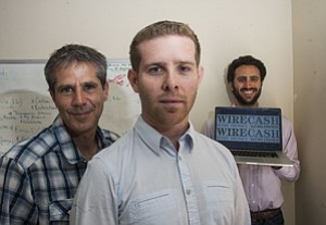 Online Campaign: Jonathan Cooper, left, Ran Grushkowsky and Logan Lemberger at Internet remittance business WireCash's headquarters in Santa Monica.