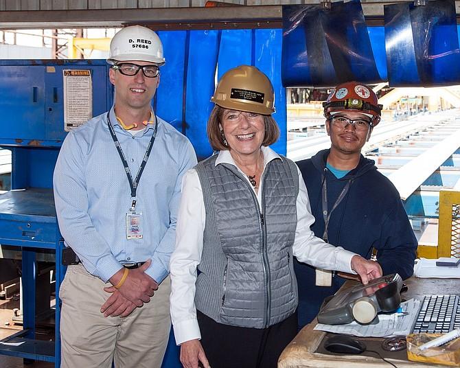 Congresswoman Davis presses button to start construction at NASSCO  of tanker. -- Photo courtesy of General Dynamics NASSCO