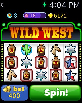 Screenshot of Slots Time, Little Labs' casino game for the Apple Watch