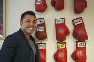 Ringer: Oscar De La Hoya at downtown L.A. office of his Golden Boy Promotions.
