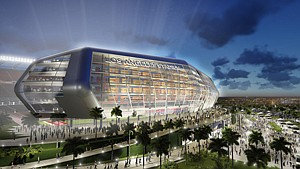 Ball Rolling: Rendering of proposed pro football stadium in Carson.