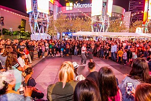 LA Live hosted events, such as dancing, to make up for paltry postseason.