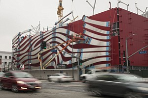Façade going up at Petersen Automotive Museum on Miracle Mile.