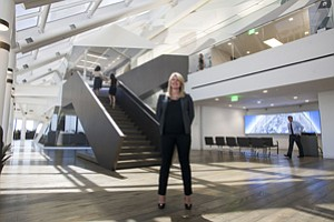 Positive Environment: Beth Moore at CBRE Group's downtown L.A. office.
