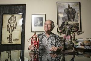 Jim Sullos, president of Edgar Rice Burroughs Inc. in Tarzana, with memorabilia.