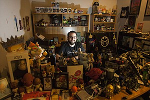 Out of Box: Matthew Arevalo with 'mystery' items at Loot Crate in Los Angeles.