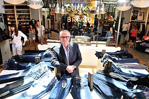 Retailored Retail: Carlos Alberini at Lucky Brand's new shop at the Point in El Segundo.