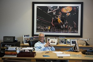 Scoring Listeners: Podcast One's Norm Pattiz in his office at the media company's headquarters in Beverly Hills.