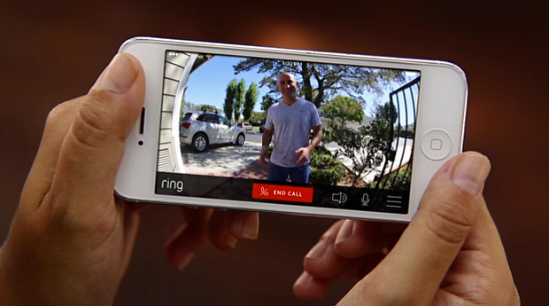 Ring app viewing live-video footage from the smart doorbell