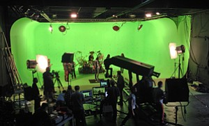 Linking Up: Green screen facility hosting a musical production at Thunder Studios in Long Beach.