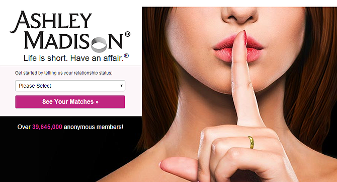 Ashley Madison's homepage