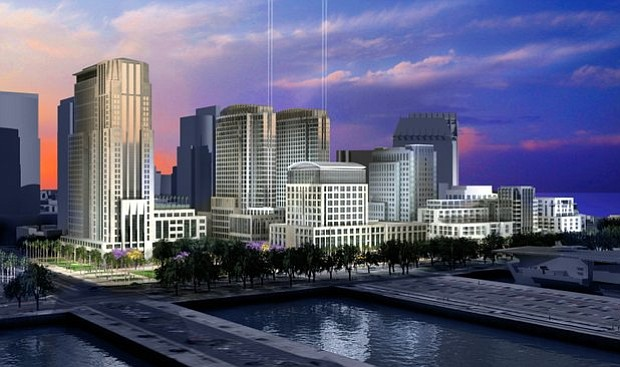 This rendering shows Pacific Gateway as it looked before a recent settlement with the Coastal Commission, and the planned project will be revised. – Rendering courtesy of Manchester Financial Group