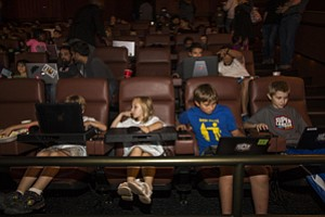 Game for Action: Kids at Super League Gaming event at Cinemark theater in Playa Vista.