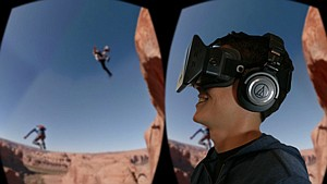 Cutting-Edge Vision: Man checks out virtual reality video from Jaunt.