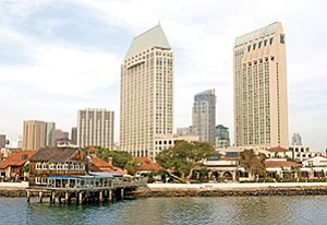 A view from the water shows Seaport Village in its original form. The port plans to look for fresh ideas for redeveloping the popular tourist spot.