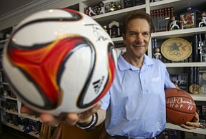 Pacing Field: Mandalay Entertainment's Peter Guber with some autographed balls at his office in Mid-City.