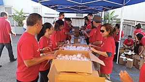 San Diego-area Wells Fargo employees participated in an event to provide care packages, letters and backpacks for active-duty service members and their families. Photo courtesy of Wells Fargo