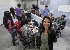 On Line: Shivani Siroya at microlender InVenture Capital's office in Santa Monica.