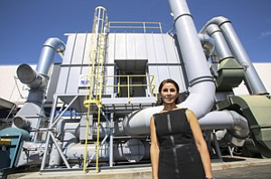 Pumped Up: Ship & Shore Environmental's Anoosheh Oskouian at pollution control company's facility in Signal Hill.