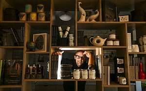 Take-Home Items: Moby in the retail section of his new Silver Lake vegan restaurant, Little Pine.