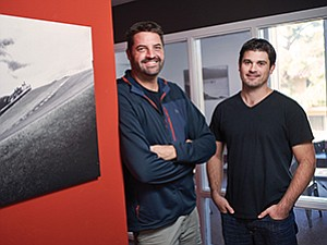 Gauging how much value an athlete brings to a product is the goal of technology being fine-tuned by CEO Scott Tilton, left, Senior Vice President RJ Kraus, and their team at Hookit