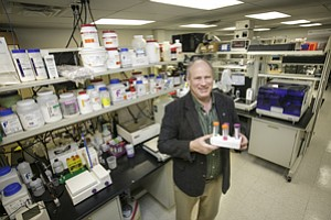 Absorbed: Greg Cauchon at his Ventura BioCenter, an incubator in Thousand Oaks.