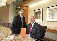 Ryan Melnick, left, a seasoned patent attorney who works for Knobbe Martens, represented CEO Tate Scott, right, and his company KFx Medical Corp. in its infringement case against Arthrex Inc. A decision by the U.S. Supreme Court not to hear the case upholds a lower court ruling awarding KFx $35 million in damages and interest.