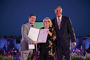 The 35th anniversary of Voices for Children was recognized with a proclamation from Congressman Darrell Issa, presented by Bill Christensen, the congressman's district representative (left), to VFC Co-Founder Kathryn Ashworth and board Chairman David Bialis. 
