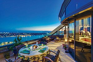 The view from the penthouse on the 41st floor of the Harbor Club condominium tower. The property is on the market for $5.9 million. Photo courtesy of Pacific Sotheby's International Realty