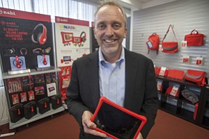 Powered Down: Jim Mitchell with nabi tablet at Fuhu's El Segundo office in 2013.