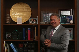 'Greater Good': Brian Kabateck at his law office in downtown Los Angeles. Kabateck wants attorneys to continue to receive a cut of the payout in class-action cases.