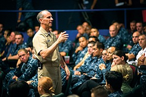 Adm. Jonathan Greenert talked about shipbuilding and other defense-related matters during a visit to San Diego in August 2015. Photo courtesy of U.S. Navy