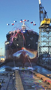General Dynamics NASSCO launched the Independence, a commercial tanker, in December. Photo courtesy of General Dynamics NASSCO