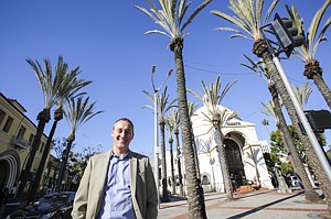Andrew Thomas of the Westwood Village Improvement Association at the heart of the retail zone.