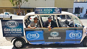 Photo courtesy of Free Ride San Diego Free Ride San Diego will soon be expanding a downtown circulator program that uses electric vehicles carrying advertising. Recent sponsors have included Swinerton Builders and Fox Sports.
