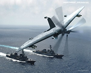 Rendering courtesy of Northrop Grumman Corp. An artist's rendering shows the Tern unmanned aircraft with examples of small U.S. Navy ships that could launch and recover it.