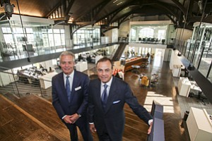 Stepping Up: CBRE Group's Lew Horne, left, with Rick Caruso at Caruso Affiliated's Masonic Temple in Glendale, where CBRE takes up four floors.