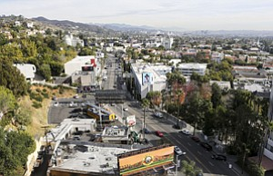 Changing Direction: View of eastern leg of Sunset Strip from atop Andaz West Hollywood.